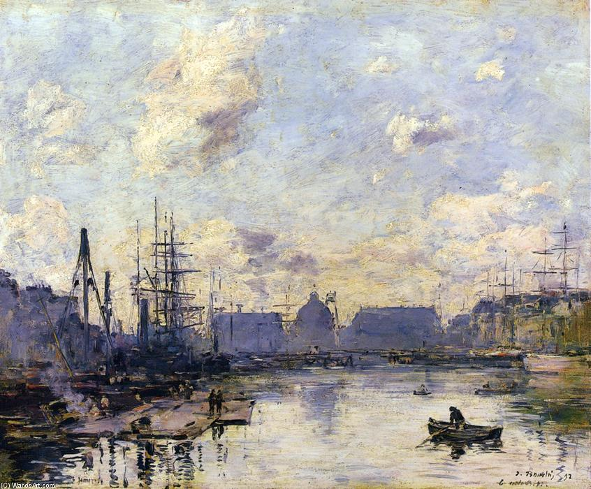 famous painting Le Havre, le Bassin du Commerce of Eugène Louis Boudin