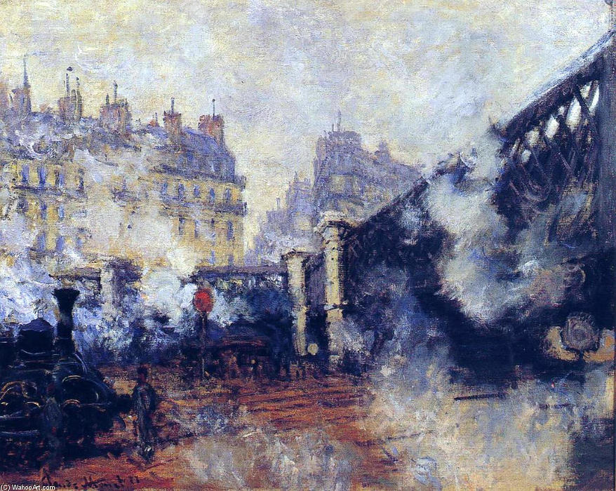 famous painting o pont de l'Europe , Gare Saint-Lazare of Claude Monet