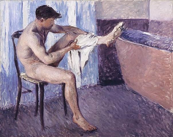 famous painting Homem que seca a perna of Gustave Caillebotte