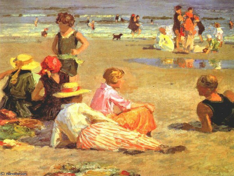 famous painting manhattan praia of Edward Henry Potthast