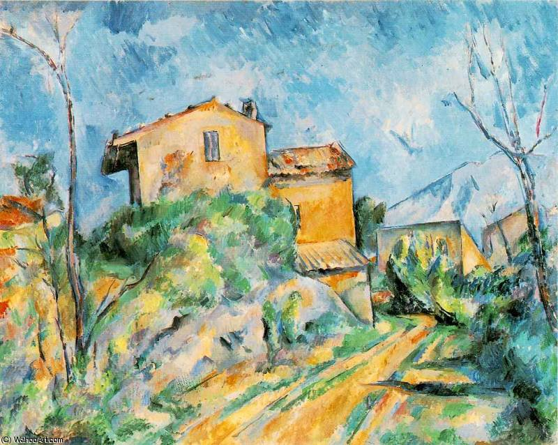 famous painting Maison Maria com uma vista do Chateau Noir of Paul Cezanne