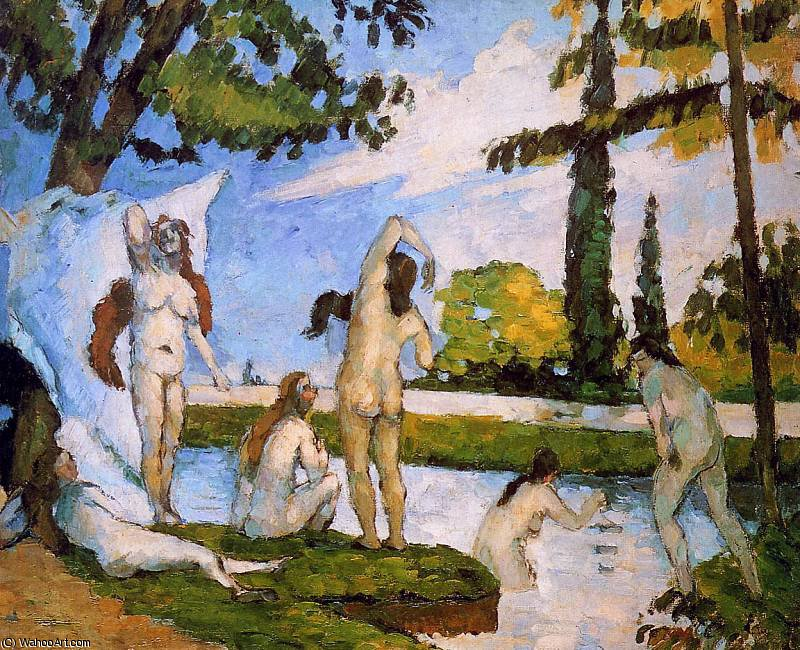 famous painting Os banhistas Sun of Paul Cezanne